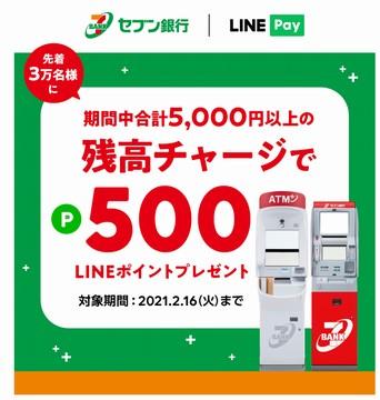 LINE Pay、セブン銀行ATMで5000円以上チャージで500ポイント還元キャンペーンの画像