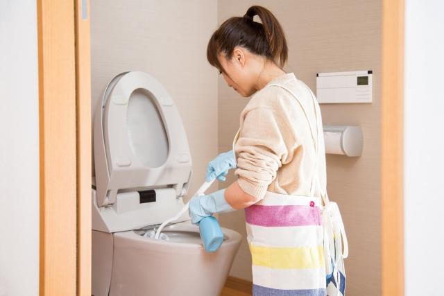 トイレ掃除をする女性の画像