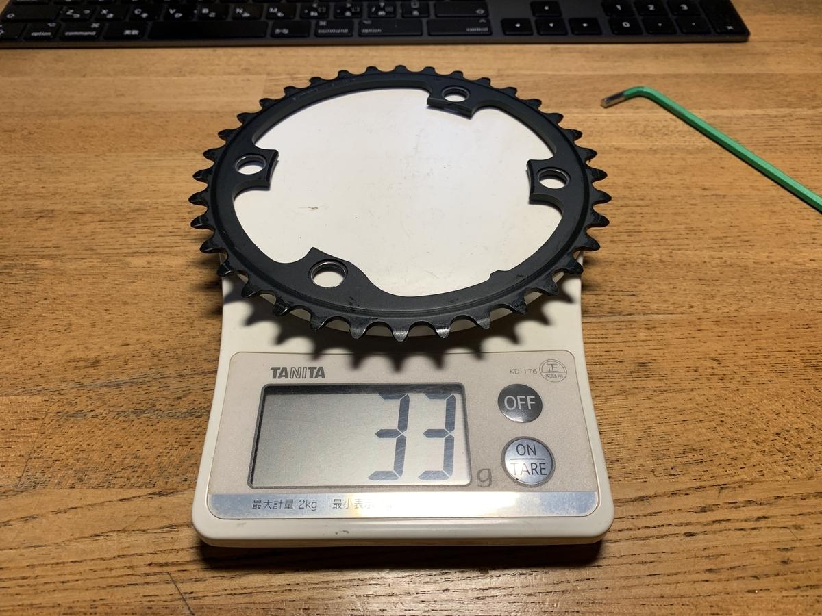 FC-R8000のインナーリングは33gと軽量、持った感じで違いが判る