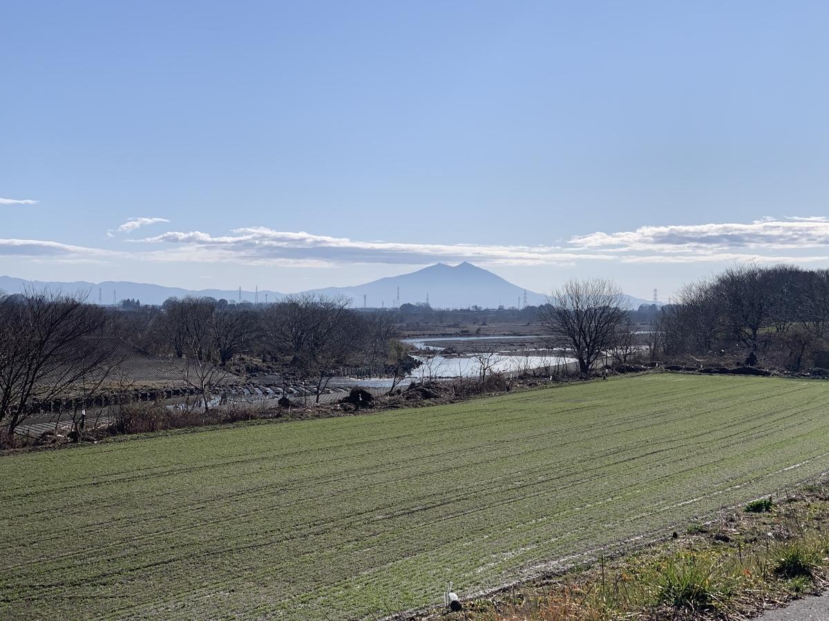 鬼怒川サイクリングロードから眺めた筑波山