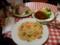 20100507の夕食。ネスパ。ピラフ、サラダ、メンチカツ。