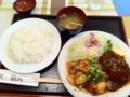 20101109の夕食。グリルロン。ハンバーグ&豚キムチ。