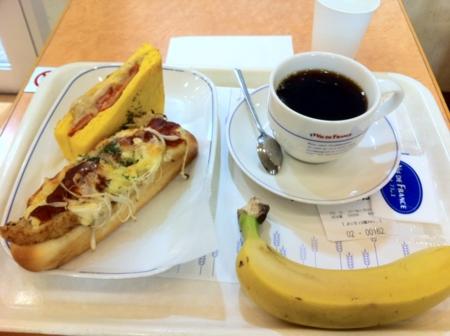 20110106の朝食。ヴィドフランス。ハッシュオニオン、クロックムッシュ
