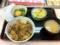 2011/1/24の夕食。吉野屋。牛鍋丼、味噌汁、ねぎ玉子。お新香。
