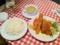 20110208の夕食。ネスパ。本日のおすすめ。海老フライ、白身魚のフライ