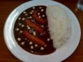 20110217の夕食。マサラ。ソーセージカレーとチーズトッピング。
