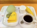 20110324の朝食。ヴィドフランス。マスクメロンパン、クロックムッシュ