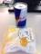 20110621の朝食。レッドブルとうさぎのほっぺ。