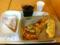 20110624の朝食。ヴィドフランス。ふんわりパンピザ、アップルケーキト