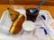 20110627の朝食。ヴィドフランス。チーズドッグ、アップルレーズン、ア