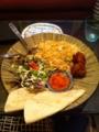 20110717の夕食。太陽の塔。トルティーヤ、チャーハン、唐揚げ、サラダ