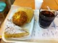 20110721の朝食。ヴィドフランス。アップルケーキトライアングルと塩パ
