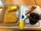 20110725の朝食。ヴィドフランス。塩パン、アップルケーキトライアング