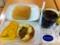 20110726の朝食。ヴィドフランス。塩パン、夏野菜カレー、クロックムッ