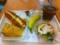 20110727の朝食。ヴィドフランス。チーズドッグ、クロックムッシュ、サ