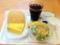 20110801の朝食。ヴィドフランス。クロックムッシュ、塩パン、サラダ、