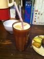 20110921の夕食。トアル食堂。バナナジュース。