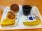 20111007の朝食。ヴィドフランス。クロックムッシュ、クリームパン、ペ