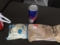 20120330の朝食。うさぎのほっぺ、カレーパン、レッドブル。