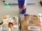 20120406の朝食。うさぎのほっぺ、チーズベーグル、レッドブル。