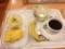 20120418の朝食。ヴィドフランス。ハムオニオン、クロックムッシュ、サ