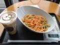 20120526の食べもの。クリスタルタワーのタリーズ。小エビのトマトクリ