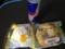 20120619の朝食。レッドブル、うさぎのほっぺ、枝豆チーズ。