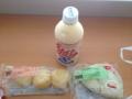 20120913の朝食。ミルククリームパン、カルツォーネ。