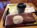 20121116の朝食。ロッテリア草津。チーズブレッド、ベーコンチーズバー