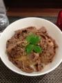 20130224の夕食。My Grill deli。お肉のどんぶり。