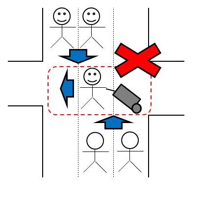 歩行者マナー違反④-スーツケースをひいて人前を横切ってくる