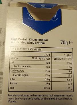 ハイプロテインチョコレート-成分表