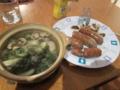 11/13:自炊。焼ソーセージとソーセージスープ。フェンネル入り。