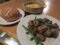11/23:夕食。サイコロステーキ+トマトスープ。初OGビーフ
