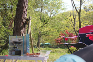 山間にあるキャンプ場