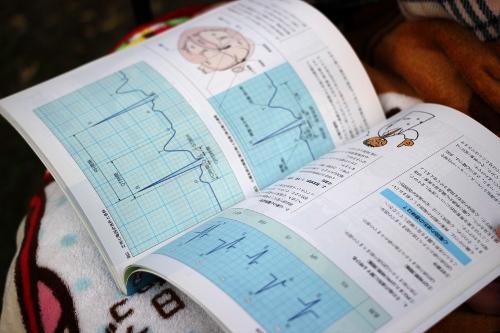 心電図の本を読む看護師