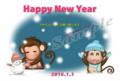 雪ダルマとマフラーしたプチ猿ペアの可愛い年賀状テンプレート