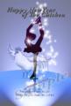 フィギュアスケート女子シングルと白い鶏の幻影のスポーツ年賀状