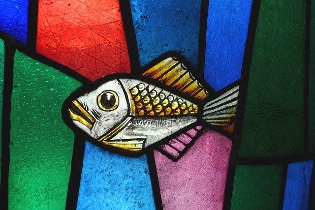 ステンドグラス 魚