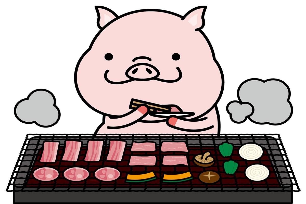 焼肉食べ放題のお店で豚肉を食べようとする誇り高い豚