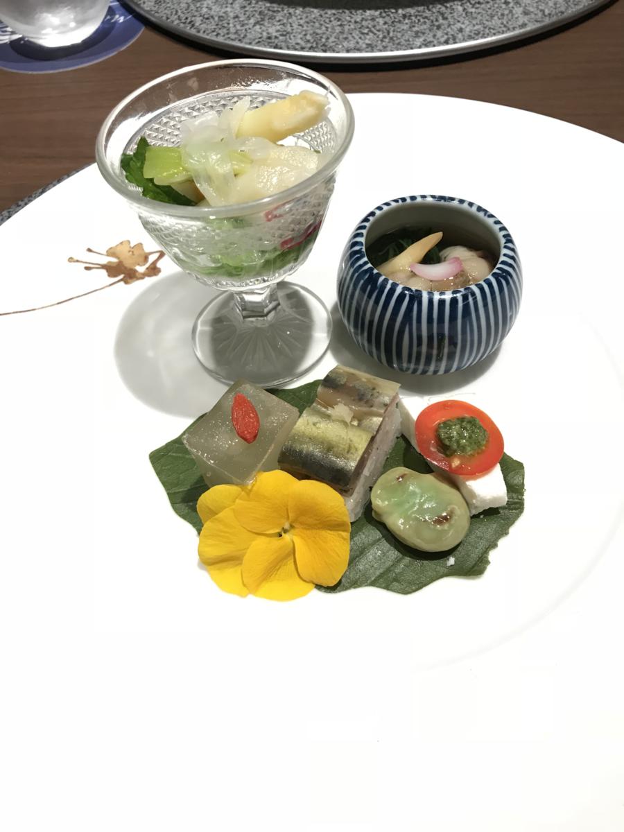 鴨川館 天ぷらコース 4月 季節の前菜盛り合わせ