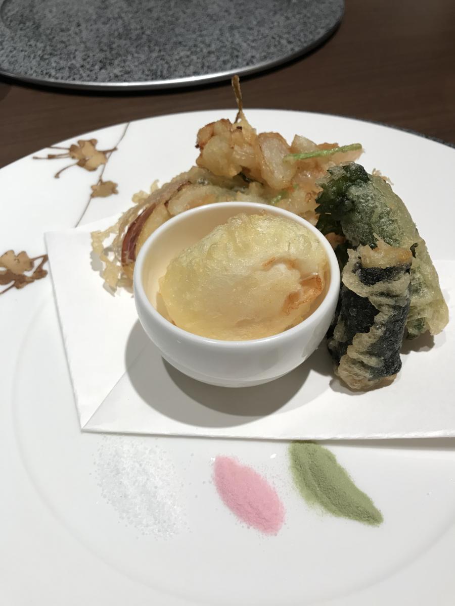 鴨川館 天ぷらコース オリジナル変わり天ぷら盛り合わせ
