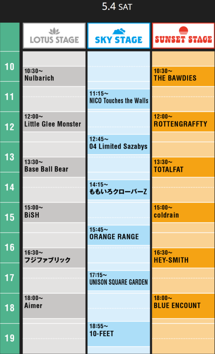 JAPANJAM5月4日タイムテーブル