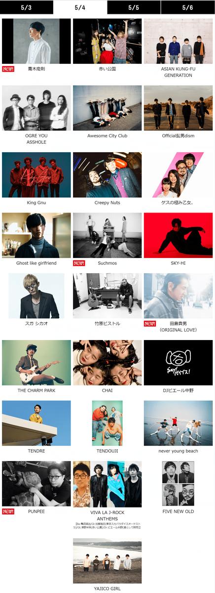 ビバラ(VIVA LA ROCK)2019 5月4日出演者