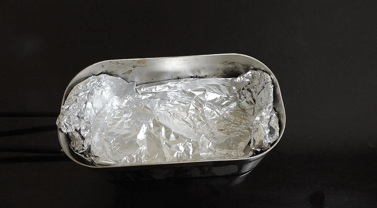 燻製メスティンをアルミホイルで保護