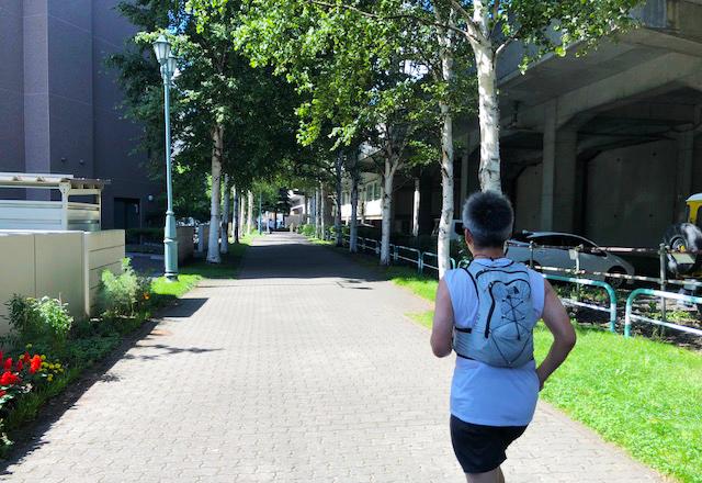 札幌駅から桑園駅までの遊歩道。自転車やお散歩の方たちが行き交います