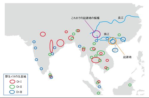日本語版イネ起源地図