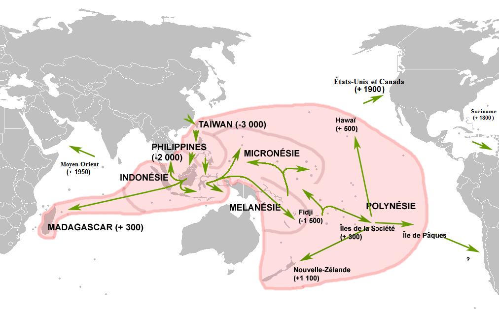 オーストロネシア語族地図