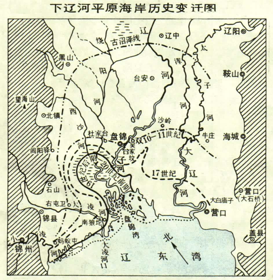 遼河平原の海岸の変遷