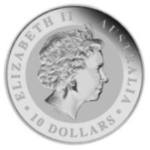 Kookaburra Silbermünze mit einem Gewicht von 10 Unzen Feinsilber